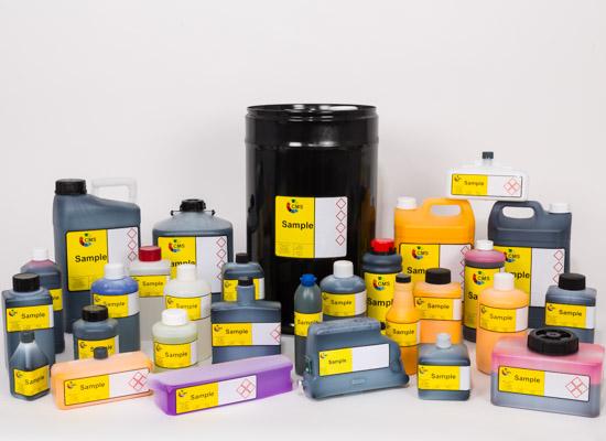 Gama de tintas y disolventes CMS para una amplia gama de impresoras industriales inkjet como Domino, Videojet, Linx, Hitachi, Markem-Imaje, Willett, Matthews, Citronix, Rea-Jet, Leibinger, EBS, KGK y más